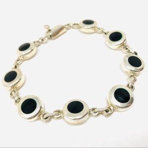 Sterling silver, inlaid onyx bracelet, 23.1g